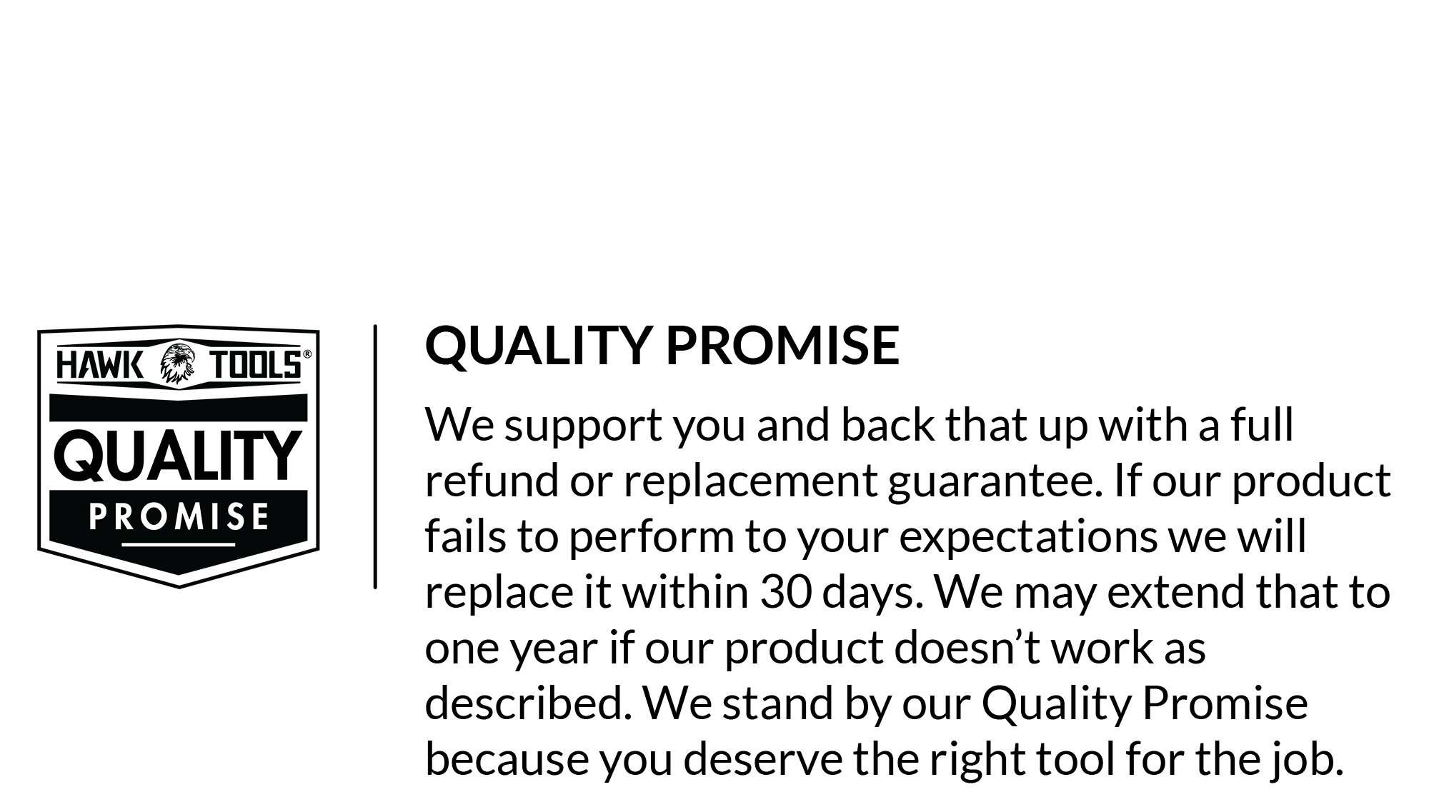 Hawk Tools Quality Promise Guarantee Image