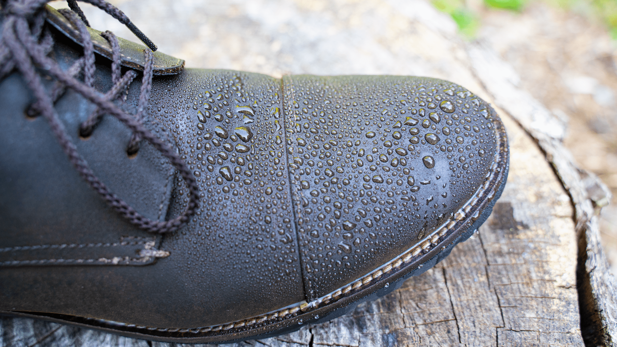 Waxed Suede Shoe with Water Droplets